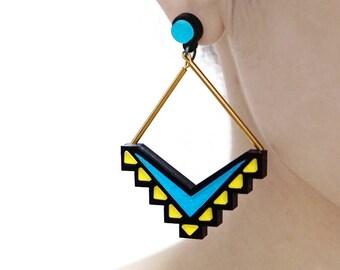 Last- 50% off-4pcs (2 Pairs) Laser Cut Acrylic Bohemia Geometry Earring Jewelry (AGE10) Geometry Series