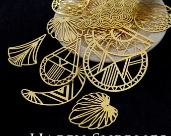 Last - Good Quality - Perfect Discounted - 30pcs Send Randomly Raw Brass Charm / Pendant, Fit For Necklace, Earring, Brooch--Clearance Sale
