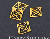 Exclusive - Raw Brass Three-Dimensional Geometric Charm Pendant, Fit For DIY Geometry Necklace, Geometric Brooch, Dangle Earrings (RD039)