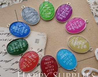 Sale - 10% OFF - 20Pcs 13x18mm (RS008-S) Oval Handmade Resin Pendants with Silver Plated Pendant Setting--Keep Calm and Carry On