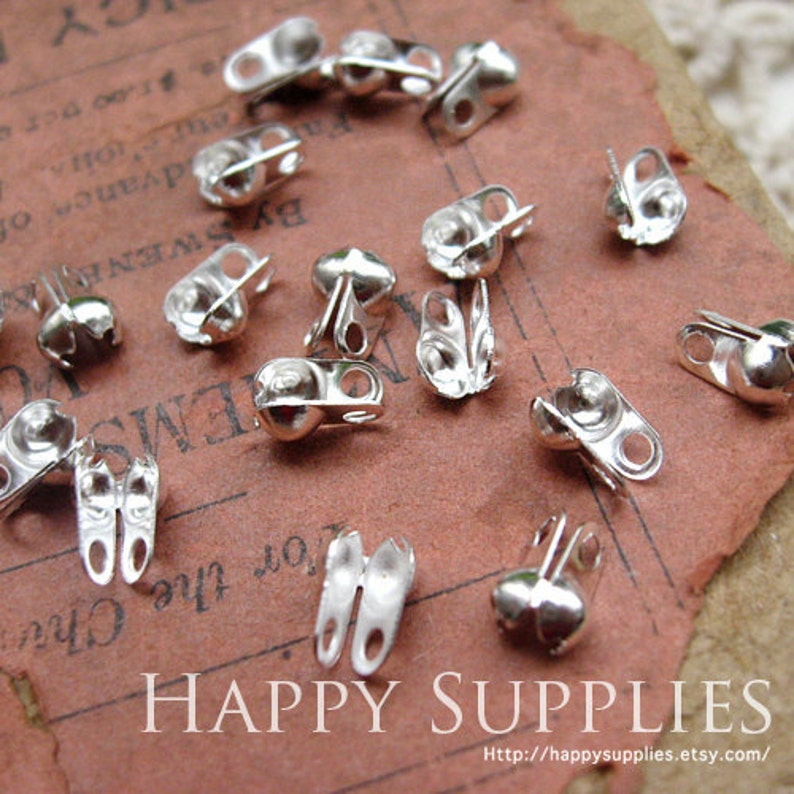 200pcs 2.4mm Silver Plated Bead Tips  Connectors for 2.4mm Ball Chains 23802