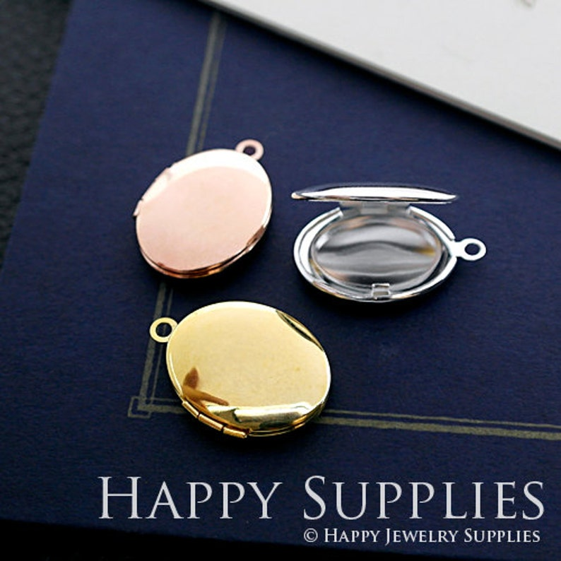 2pcs 23x29mm  17x21mm Oval Blank Golden  Silver  Rose Golde Plated Brass Locket Pendants Charms ZL10 Without Chain