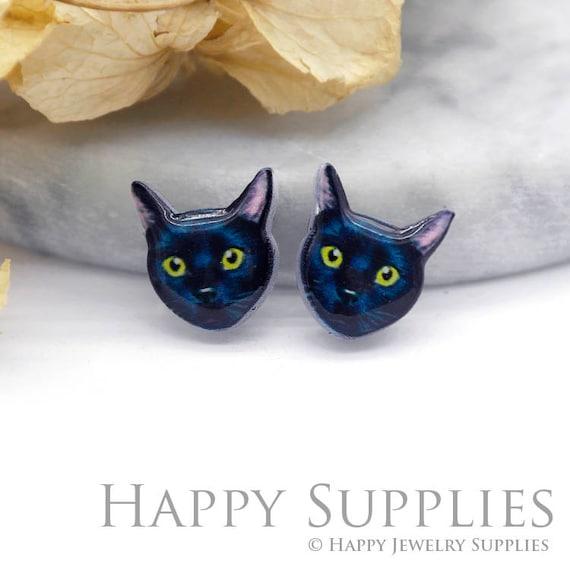 4pcs (2 paires) sculpté en résine acrylique Mini chat Laser coupe Bijoux Pendentif / breloque, Fit pour boucle d'oreille, bague (AR073)
