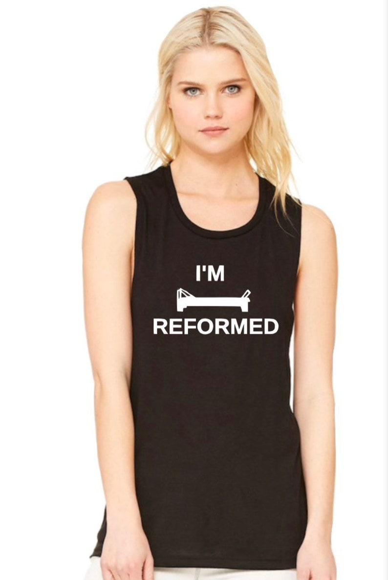 I\u2019m Reformed Pilates flowy muscle tank top womans,