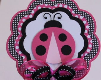 Ladybug CENTERPIECE Hot Pink Polka Dot Table Decor Baby Shower Birthday Party Decorations