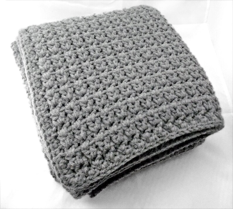 Grey color Crib Size Crochet Baby Blanket  modern nursery  unisex baby blanket  baby gift