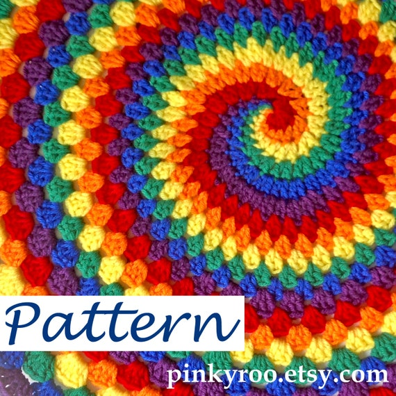 Pdf Pattern For Rainbow Spiral Granny Blanket Etsy