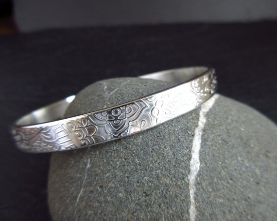 Sterling Silver Bangle With Patterned Texture Medium Or Large Etsy