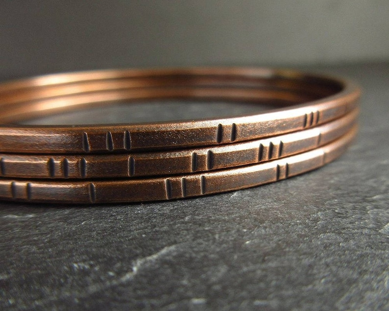 8th Wedding Anniversary Gifts.Traditional 8th Wedding Anniversary Gift For Women Bronze Bangle Set With Stamped Line Pattern Ladies Bracelets With Oxidized Patina