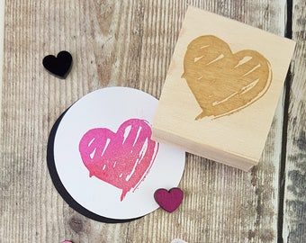 Brush Heart Rubber Stamp by Skull and Cross Buns - Wedding Heart - Wedding Invite - Wedding Gift - Valentines Gift - Craft