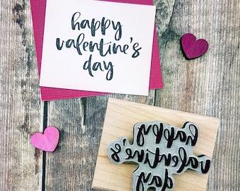 Happy Valentines Day Script Text Rubber Stamp - Love Stamper - Valentine Gift - Gift for Couples - Valentine Card - DIY Valentine
