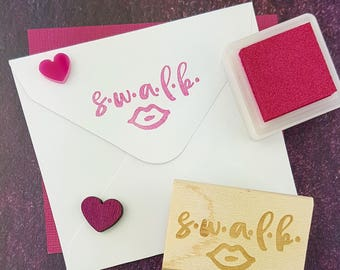 S.W.A.L.K. Rubber Stamp  - Packaging Stamp - Valentines Stamper - Snail Mail Stationery - Envelope - Happy Post - Sealed With a Loving Kiss