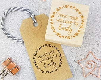Personalised Floral Hand Made With Love By Rubber Stamps - Personalized Stamp - Custom Stamper - Handmade By Stamp - Hand Made Label
