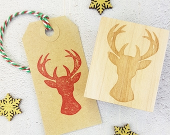Christmas Stag's Head Rubber Stamp - Stag Stamper - Christmas Stamp - Reindeer Stamp - Stocking Stuffer - Gift for Crafter - Moose - Festive