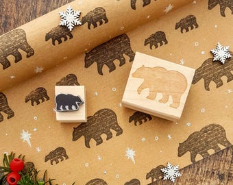 Christmas Mother and Baby Bear Rubber Stamp Set - Polar Bear Rubber Stamp - Scrapbooking - Christmas Card Making - Daddy Bear - Momma Bear