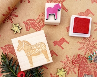 Dala Horse Rubber Stamp - Christmas Rubber Stamp  - Stocking Stuffer - Nordic Christmas - Scandi Stamper - Christmas Craft Gift Wrap
