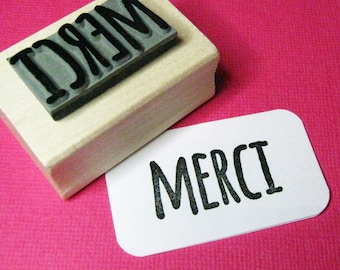 France Thanks Stamper Thank You Card French Phrase French Stationery Merci Sentiment Text Rubber Stamp Thank You Stamper