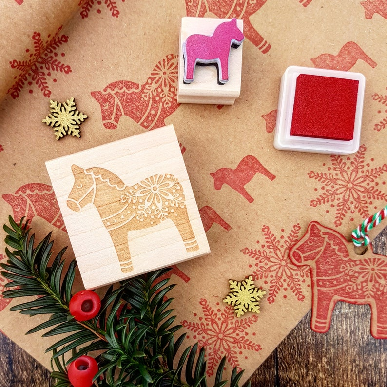 Dala Horse Rubber Stamp  Christmas Rubber Stamp   Stocking image 1