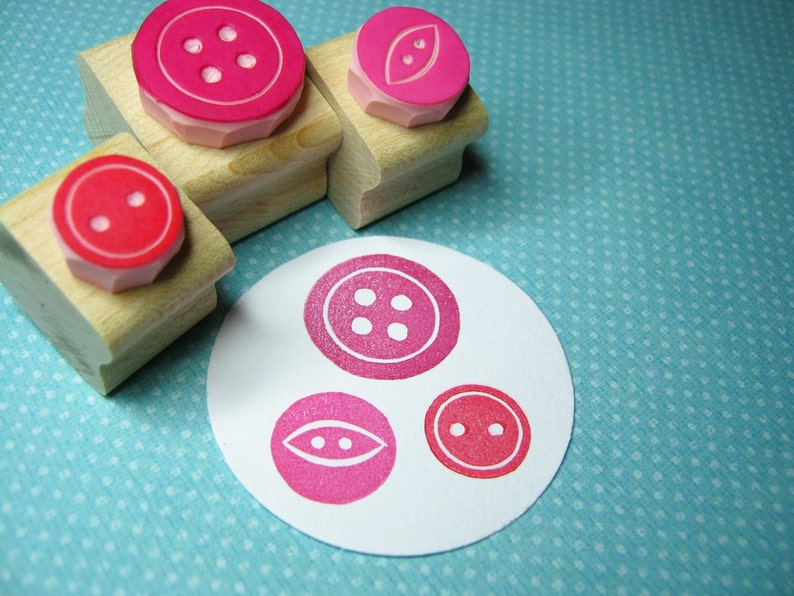 Sweet Three Button Set of 3 Rubber Stamps  Button Gift  Gift image 0