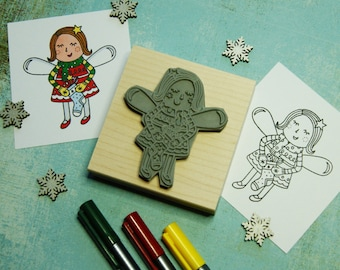 Christmas Fairy Rubber Stamp - Stocking Fairy Colouring In Christmas Rubber Stamper - Stocking Stuffer Filler - Christmas Card - Scrapbook