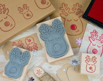 Red Nose Reindeer Christmas Rubber Stamp - Christmas Stamper - Scrapbooking - Stocking Stuffer - Stocking Filler - Card Making - Stag Stamp