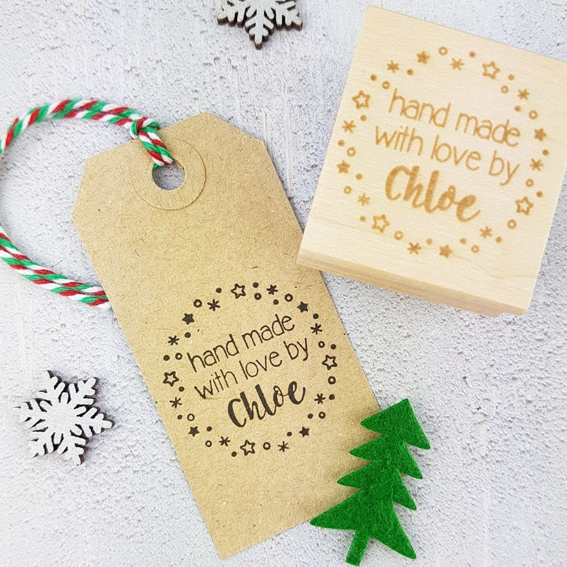 Personalised Christmas Hand Made With Love By Rubber Stamps Hand Made Label Handmade By Stamp Custom Stamper Personalized Stamp