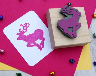 Large Reindeer Rubber Stamp - Stag Stamper - Christmas Stamp - Christmas Gift - Stocking Stuffer - Gift for Crafter - Moose - Festive