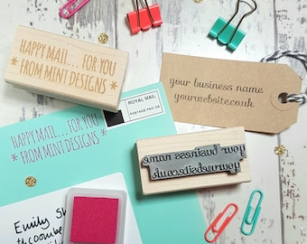 Personalised Business Text Rubber Stamp  - Personalized Stamp - Business Stamper - Custom Stamp Small Business - Supplies - Your Text Here