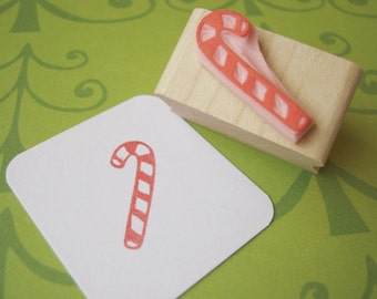 Candy Cane Christmas Stamp - Rubber Stamper - Stocking Stuffer - Gift for Foodie - Sweet Candy - Christmas Card Making