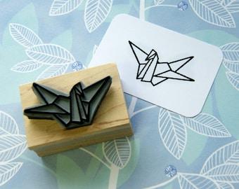 Origami Crane Japanese Rubber Stamp - Japan Rubber Stamp - Papercraft - Paper Folding - Bird Stamper - Wedding Stationery - Paper Crane