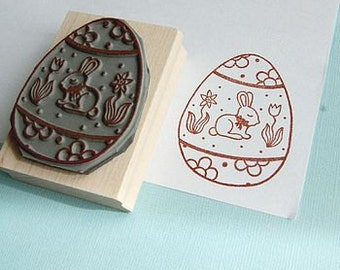 Bunny Easter Egg Rubber Stamp - Colouring In Rubber Stamp - Easter stamper - Easter Card - Easter Craft - Easter Card - Easter Gift