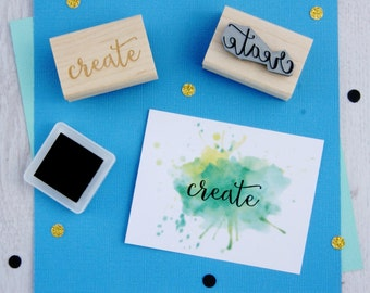 Create Sentiment Text Rubber Stamp - Creative Stamper - Script Style Font - Card Making - Scrapbooking - Maker - Small Business - Inspire