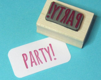 Party! Sentiment Text Rubber Stamp - Party Stamper - Party Invites - Gift Wrap - Message Stamp - Skinny Font - Skull and Cross Buns