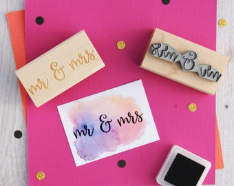 Mr and Mrs Rubber Stamp - Wedding Stamper - Wedding Gift - DIY Wedding Invites - Handmade Wedding Invitations - Script Font - Couple