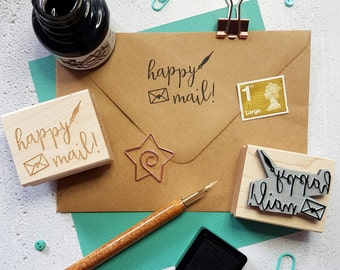 Happy Mail Rubber Stamp  - Packaging Stamp - Business Stamper - Small Business Stationery - Supplies - Happy Post - Branding - Envelope