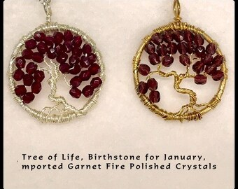 Tree of Life, Birthstone for January in Fire Polished Crystal