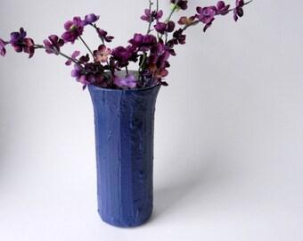 Navy Blue Vase / 9 inch vase /  blue home decor / navy home decor / blue house