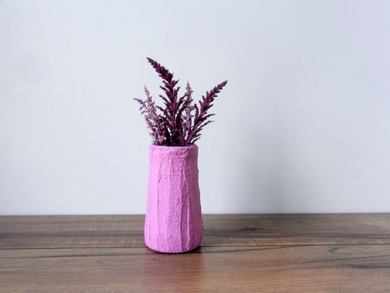 Small Pink Jar Vase Short Vase Fuschia Ho Me Decor Etsy