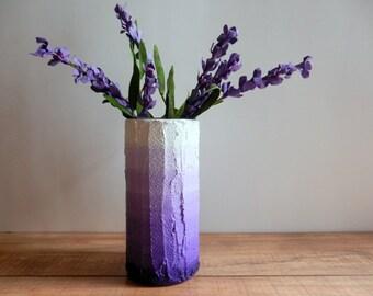 Ombre Purple Vase /  lilac  flower vase / dusty pastel purple / concrete and glass vase