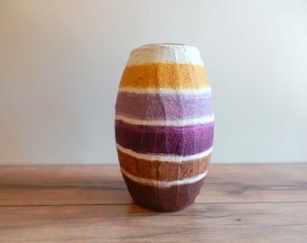 Purple Vase / White Mustard Brown Grape / Seashell Colors / glass stucco concrete vase