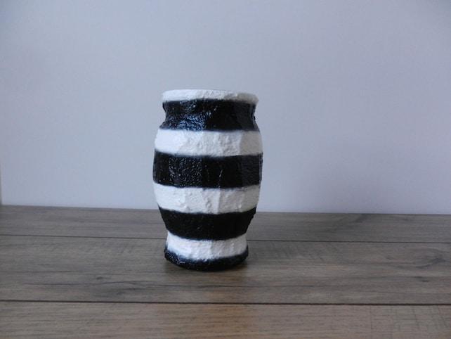 Vase Black And White Stripes Vase White And Black Home Etsy
