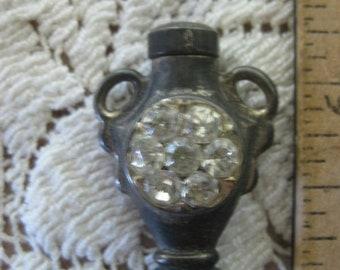 perfume ~ rhinestone encrusted brass perfume vessel