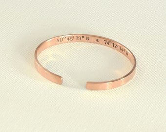 Latitude longitude coordinates bronze cuff bracelet with compass BBR11201818