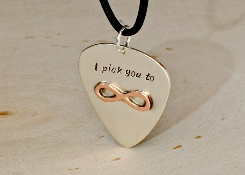 Silver Guitar Pick Necklace with Copper Infinity and I Pick You for you to Personalize in Solid 925 Sterling Silver NL109