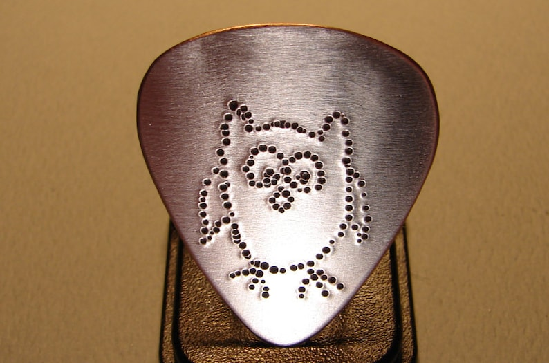 Owl Guitar Pick Handmade from Copper with a Big Hoot image 0