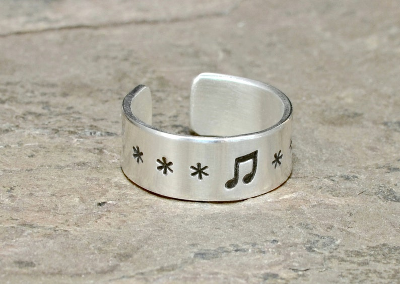 Solid 925 TR707 Sterling silver musical toe ring hand stamped with music notes