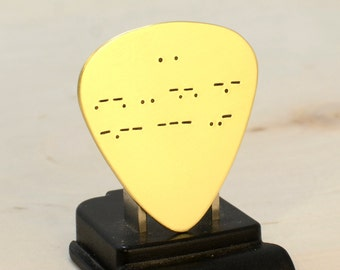 Morse Code Brass Guitar Pick with Personalized Message – I Pick You for Valentine's Day - GP553