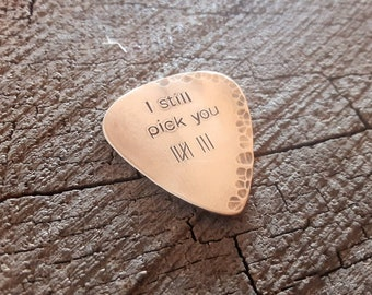 Bronze guitar pick with tally marks for 8th anniversary - bronze anniversary gift - Playable