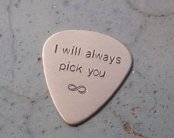 Bronze guitar pick with I will always pick you