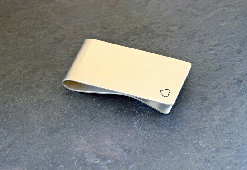 Solid 925 MC033 silver money clip with a Heart and Space to Personalize